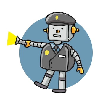 Police robot cartoon doodle style drawing