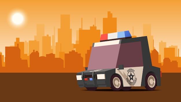 都市景観の背景に警察セダン。 isoflatスタイルのイラスト。