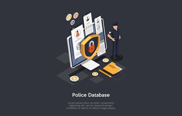 경찰 서비스, 법률 및 정의, 범죄 개념. 경찰관은 경찰 데이터베이스에 대한 잠금 액세스로 큰 화면을 보호합니다. 보안 방패 자물쇠 아이콘