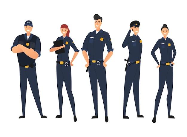警察は白い背景で隔離の制服を着た。