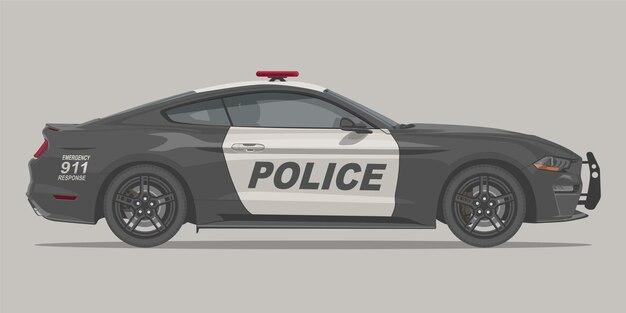 Полицейский спортивный автомобиль мышцы вид сбоку