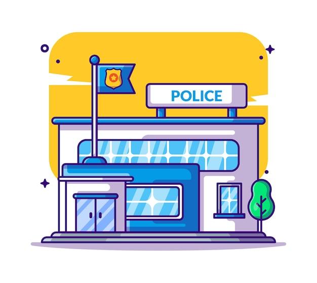 Здание полицейского участка иллюстрации шаржа