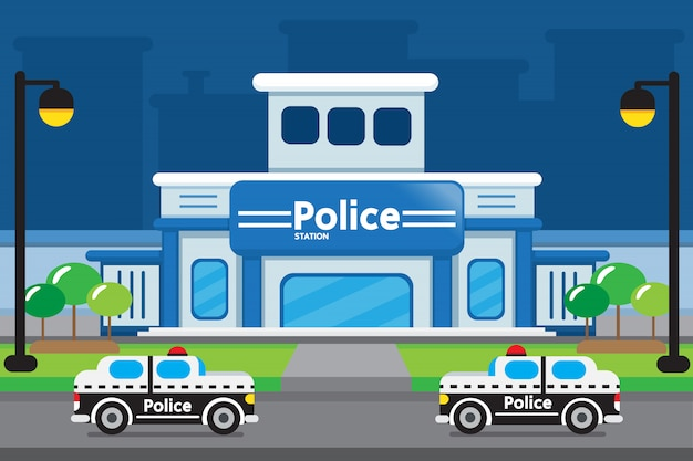 Police station cartoon design.