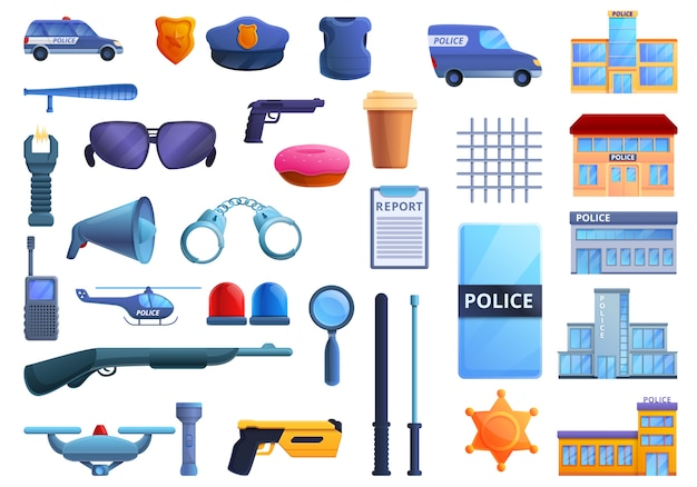 Police station icons set, cartoon style