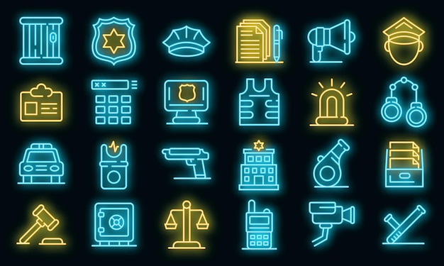 Police station icons set. outline set of police station vector icons neon color on black