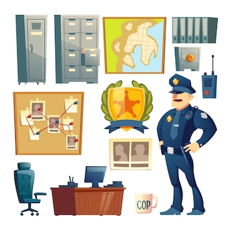 Police station interior element cartoon vector set