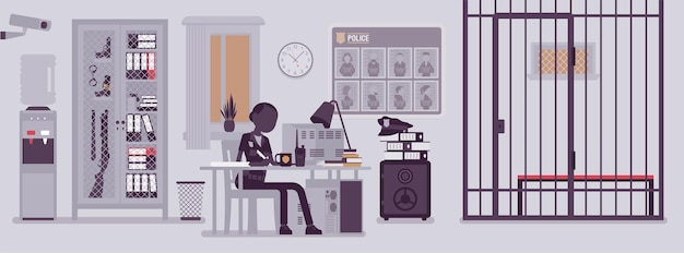 Police station office and policewoman working. female officer sitting at workplace in city department, room interior with professional tools wanted poster. vector illustration with faceless characters
