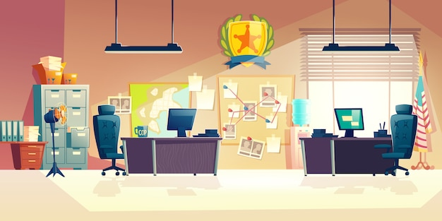 Police station office room interior cartoon illustration