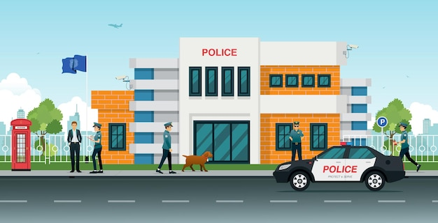 Police station with police cars and police men and women.