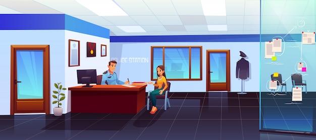 Полицейский участок с полицейским и девушкой посетителем