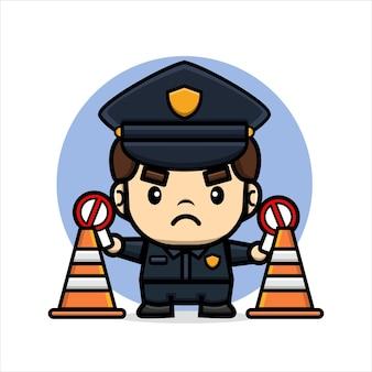 경찰은 금지 표지판과 교통 원뿔로 사람들을 막습니다.