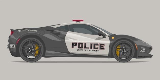 警察のスーパーカーの側面図