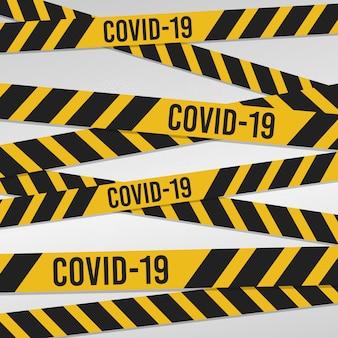 警察テープバナーウイルスの背景。医療用コロナウイルスのインフォグラフィック。編集可能なテンプレートウイルス感染。