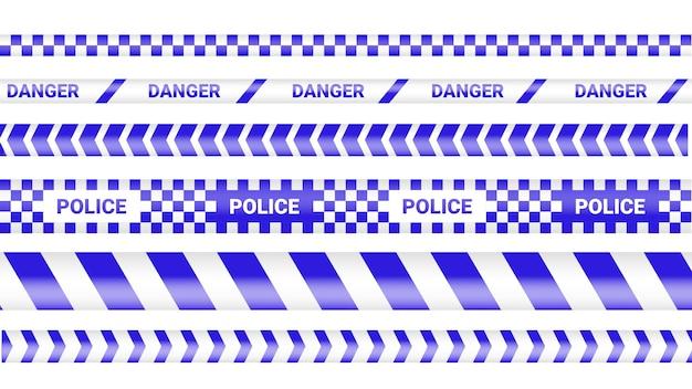 Полицейская лента, линия опасности преступления. осторожно линии полиции изолированы. предупреждающие ленты. набор желтых предупреждающих лент иллюстрации