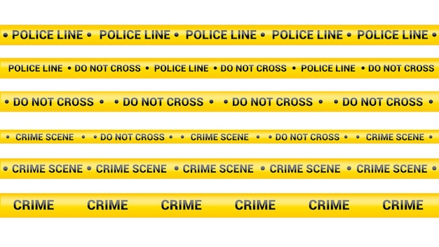 Полицейская лента, линия опасности преступления. осторожно, полицейские линии изолированы. предупреждающие ленты. набор желтых предупреждающих лент. векторная иллюстрация на белом фоне.