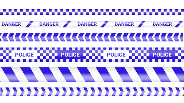 Police tape, crime danger line. caution police lines isolated. warning tapes. set of yellow warning ribbons illustration