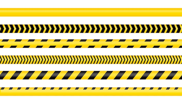 Police tape, crime danger line. caution police lines isolated. warning tapes. set of yellow warning ribbons. vector illustration on white background.