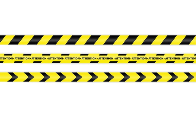 Police tape icon set. attention. warning. vector on isolated white background. eps 10.