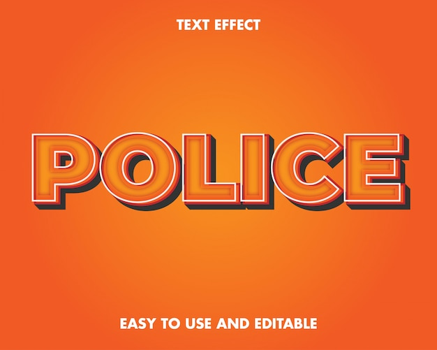 Police text effect. editable text effect and easy to use. premium vector illustration