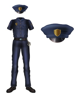 Police uniform and cap with cockade, policeman security costume