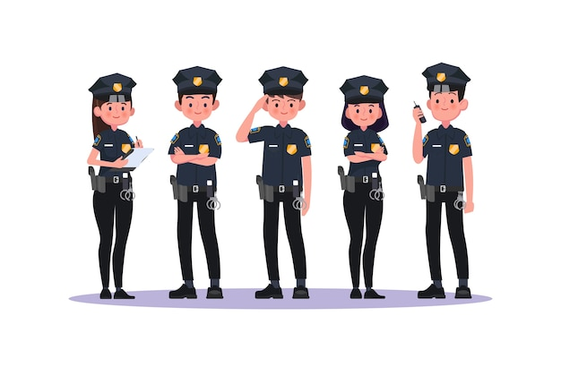 Police in uniform.police man and police woman,cops. illustration.