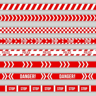 Police warning tape, caution. red and white barricade, do not cross, police, crime danger line, bright red official crime scene barrier tape. danger signs.