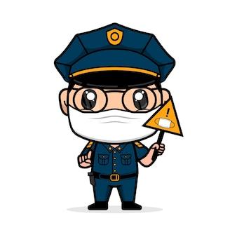 경찰은 안면 마스크를 쓰고 바이러스 확산을 막기 위해 표지판을 들고 있습니다.
