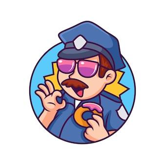 도넛 만화 아이콘 일러스트와 함께 경찰입니다. 고립 된 사람 아이콘 개념