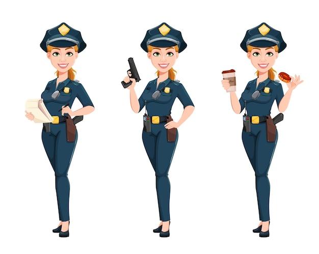 3つのポーズの制服セットで警察の女性