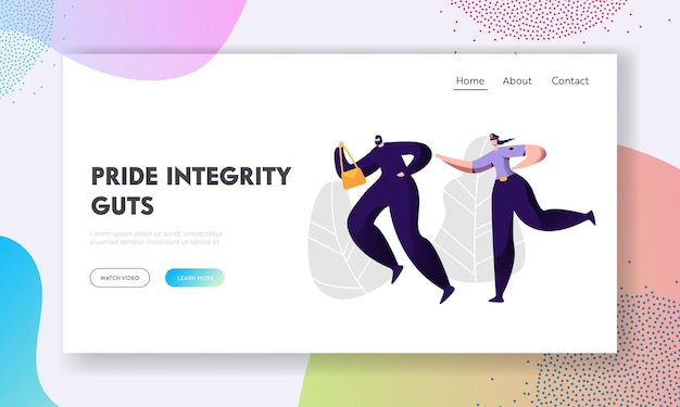 Police woman officer at work catching up thief steal bag to arrest, criminal and punishment, female inspector help to victim website landing page, web page. cartoon flat vector illustration