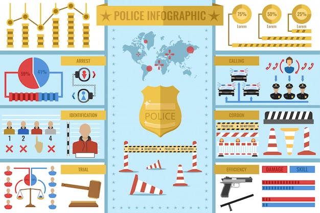 Police work infographics with golden badge world map statistics diagrams