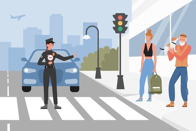 通りの道路の警察官