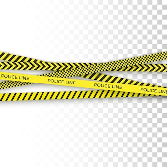Police yellow tape. danger zone with line barrier. warning strip.