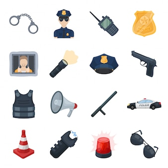 Police zone  cartoon set icon.security isolated cartoon set icon. illustration police  .