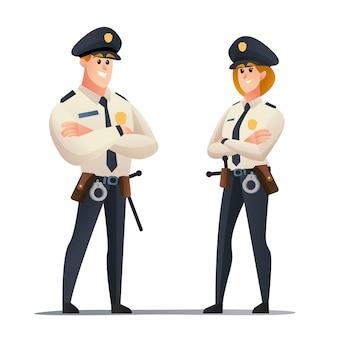 警官と警察の女性警官の漫画のキャラクターセット