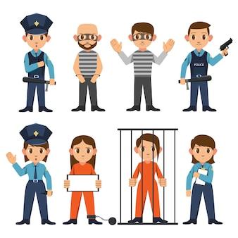경찰관과 여경이 범죄자를 잡다