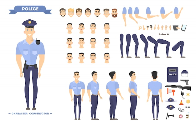 Policeman character set. police officer poses and emotions.