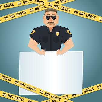 Policeman character with blank board and yellow do not cross tape poster vector illustration