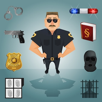 Policeman character with elements