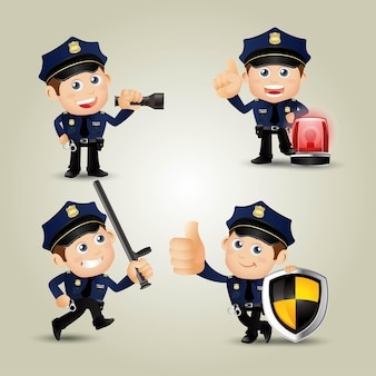 Policeman characters in different poses