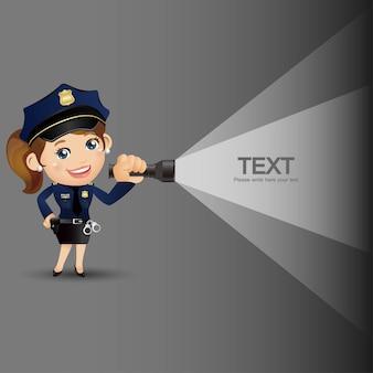 さまざまなポーズの警官のキャラクター
