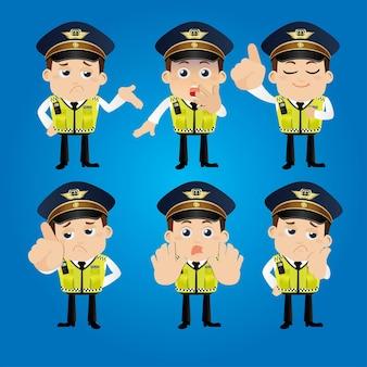 다른 포즈의 경찰관 캐릭터