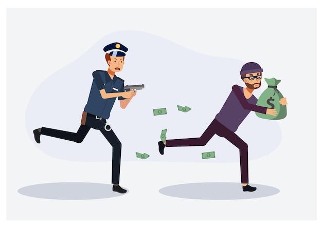 Policeman chasing a thief.