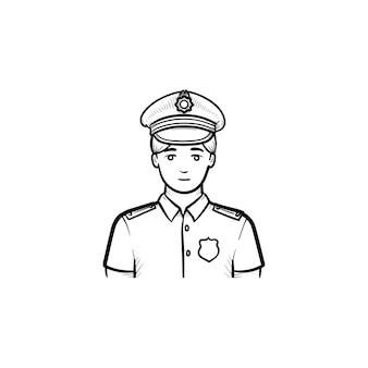Полицейский рисованной наброски каракули значок. офицер полиции в форме как концепция власти, власти и патрулирования. векторная иллюстрация эскиз для печати, интернета, мобильных устройств и инфографики на белом фоне