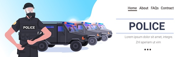 完全戦術装備の警官が警棒抗議者を保持している暴動警察官