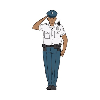 균일 한 흰 셔츠 남자 만화 캐릭터 경례에 경찰관