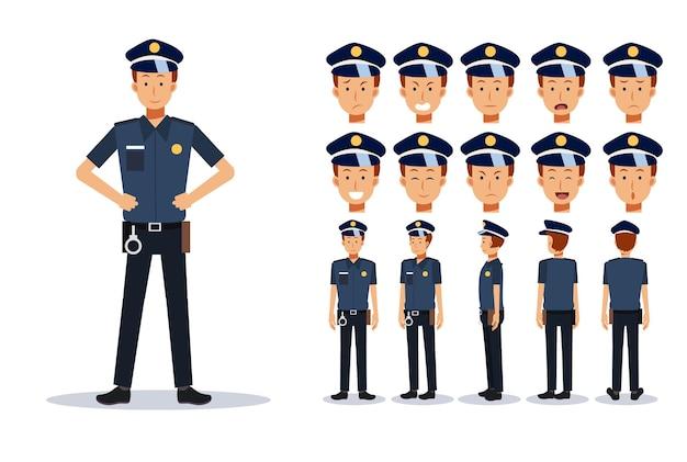 Полицейский в различных взглядах, мультяшном стиле. плоский векторный характер иллюстрации