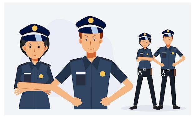 警官、男性と女性の警官