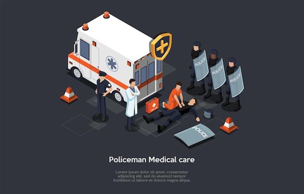 Полицейский медицинская помощь, концепция профессиональной первой помощи. изометрическая композиция, мультяшный 3d стиль иллюстрации. векторный дизайн. автомобиль скорой помощи, команда полиции в форме, врачи. элементы инфографики.