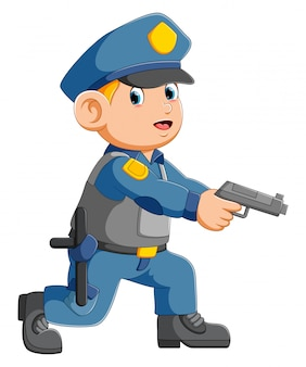 Policeman officer aiming with pistol